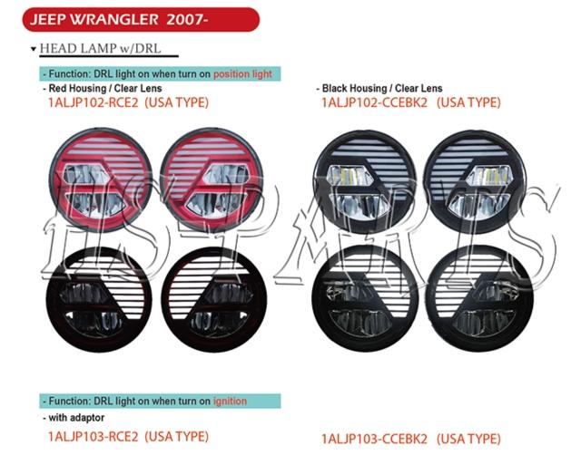 Jeep Wrangler 2007-2016 LED Head Lamp Lights w/driving lights