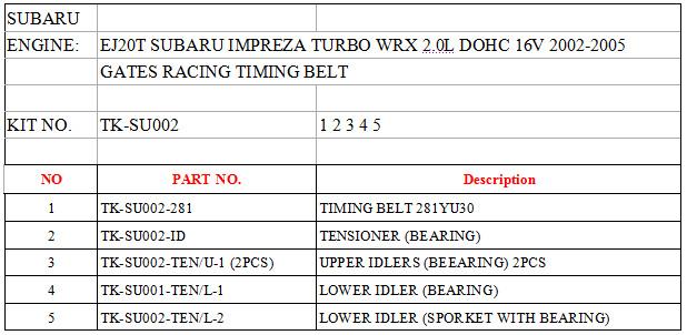 Timing Components & Kits - SUBARU