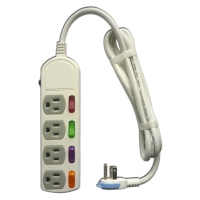 PC extension cord (super-energy-efficient, 4-switch, 4-socket, 6ft)