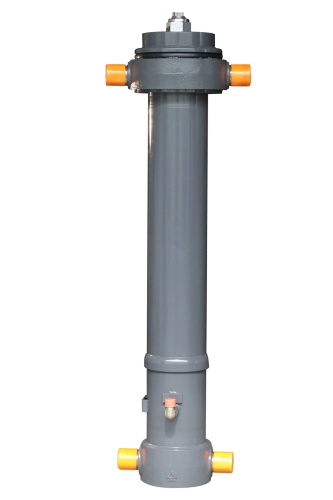 Telescopic under-body tipping cylinder