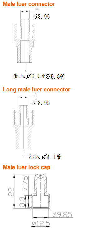 Male luer connector / Long male luer connector / Male luer lock cap/Plastic Medical Parts