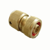 1/2 solid brass auto shut off hose repair connector