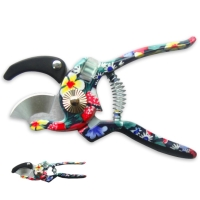 Flower Pattern Printing Anvil Pruning Shears