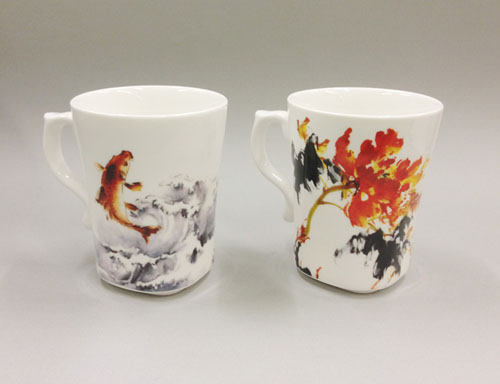 Carp and Sparrow Cup couple set in Water and ink painting by Hao Nian Ou