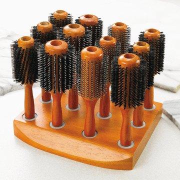 Wooden Round Hairbrush Set