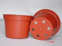 "Red low planter (3"" dia.; flat-bottomed)"