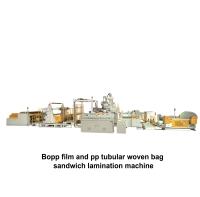 03.Bopp film and pp tubular woven bag sandwich lamination machine