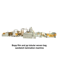 03.Bopp film and pp tubular woven bag sandwich lamination machine