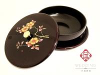 茶花漆器餅盒日本製