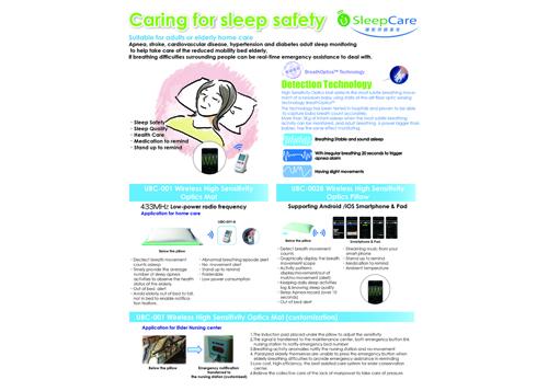 Wireless High Sensitivity Optics Mat for elder person sleep care