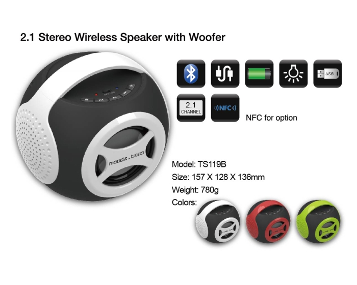 2.1 Stereo Wireless Speaker With Woofer