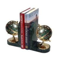 Marble bookend with globe