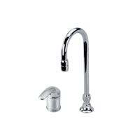 Single handle wide spread hi-rise sink faucet