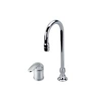 Single handle wide spread hi-rise sink faucet