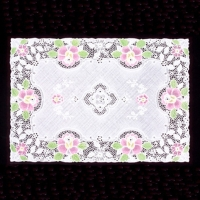 Vinyl Crochet Lace Table Mat With Spray
