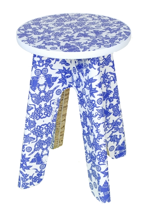 Blue-and-White Print Stool