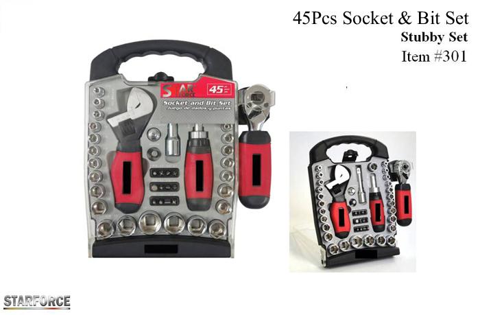 45pcs Socket & Bit Set Stubby Set