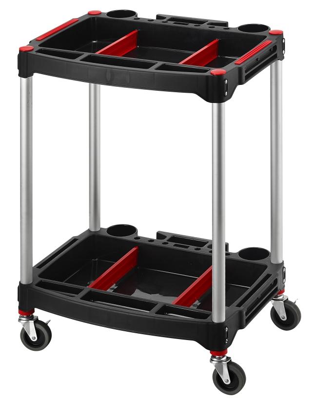 2-Tiers Height-Adjustable Tool Cart