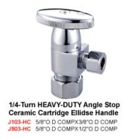 1/4Turn Heavy-Duty Angle Stop Ceramic Cartridge Ellidse Handle