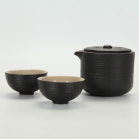 Ring-patterned Travel Teapot Set