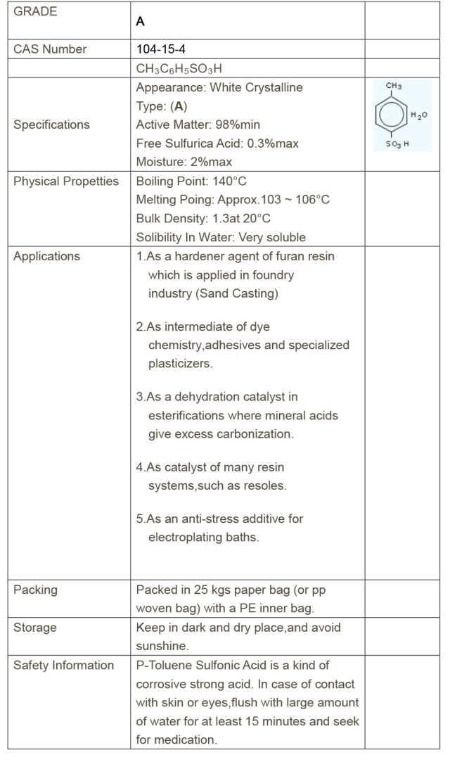 對甲苯磺酸 A級(98%) /PTSA