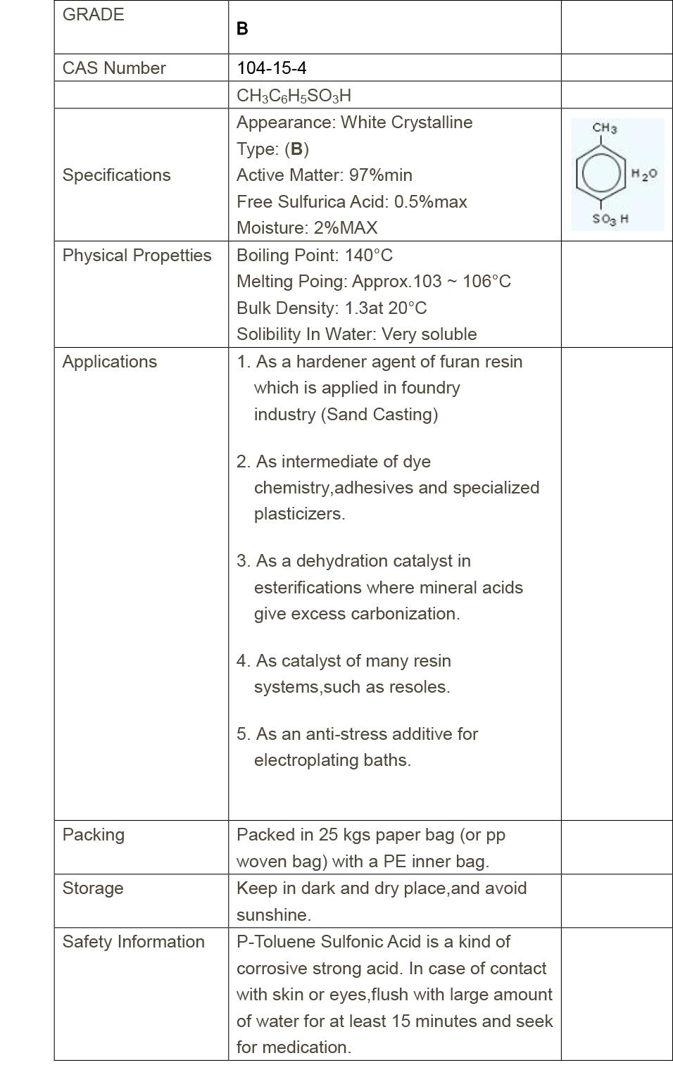 PTSA Grade-B(97%)/p-Toluenesulfonic acid