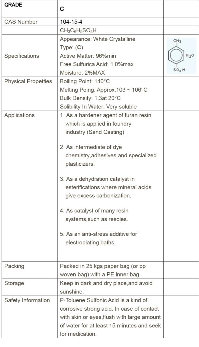 PTSA Grade-C(96%)/p-Toluenesulfonic acid/PTSA