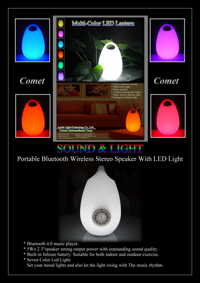 Portable Bluetooth Wireless stereo speaker with LED light