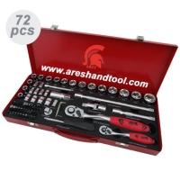 72 件 2+4分手动套筒工具组 (铁盒)