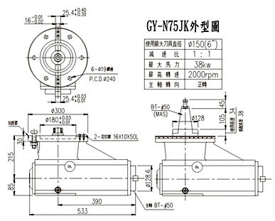 Auto-indexing 90° Milling Head /Long-spindle 90° Milling Head