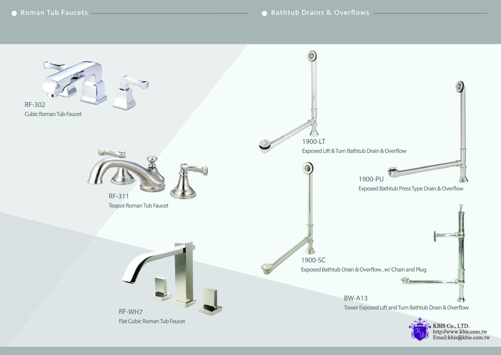 Roman Tub Faucets & Bathtub Drains & Overflows