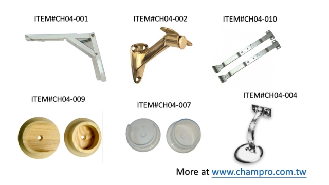 HANDRAIL BRACKETS, CLOSET POLE SOCKETS, TABLE LEG BRACES, SUPPORTS