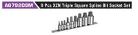 A679209M 9 Pcs XZN Triple Square Spline Bit Socket Set