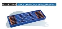 B0015012H-P 12PCS GO-THROUGH SCREWDRVER SET