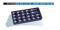 """D171522 22 PCS 3/8"""" SQ. DRIVER SOCKET BIT SET"""
