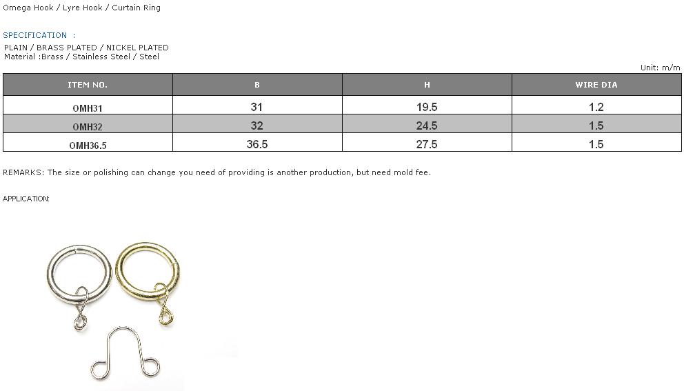 Omega Hook / Lyre Hook / Curtain Ring