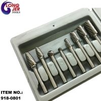 8PC DOUBLE CUT CARBIDE ROTARY BURR SET FOR GRINDING TOOLS