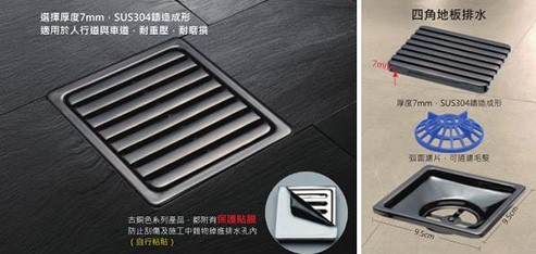 Square Floor Drain (Bronze-Coloured)