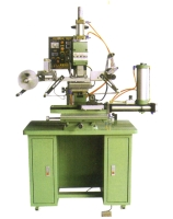 Rotary transfer-printing & fixed-spot hot-stamping machine w/photoelectric cell