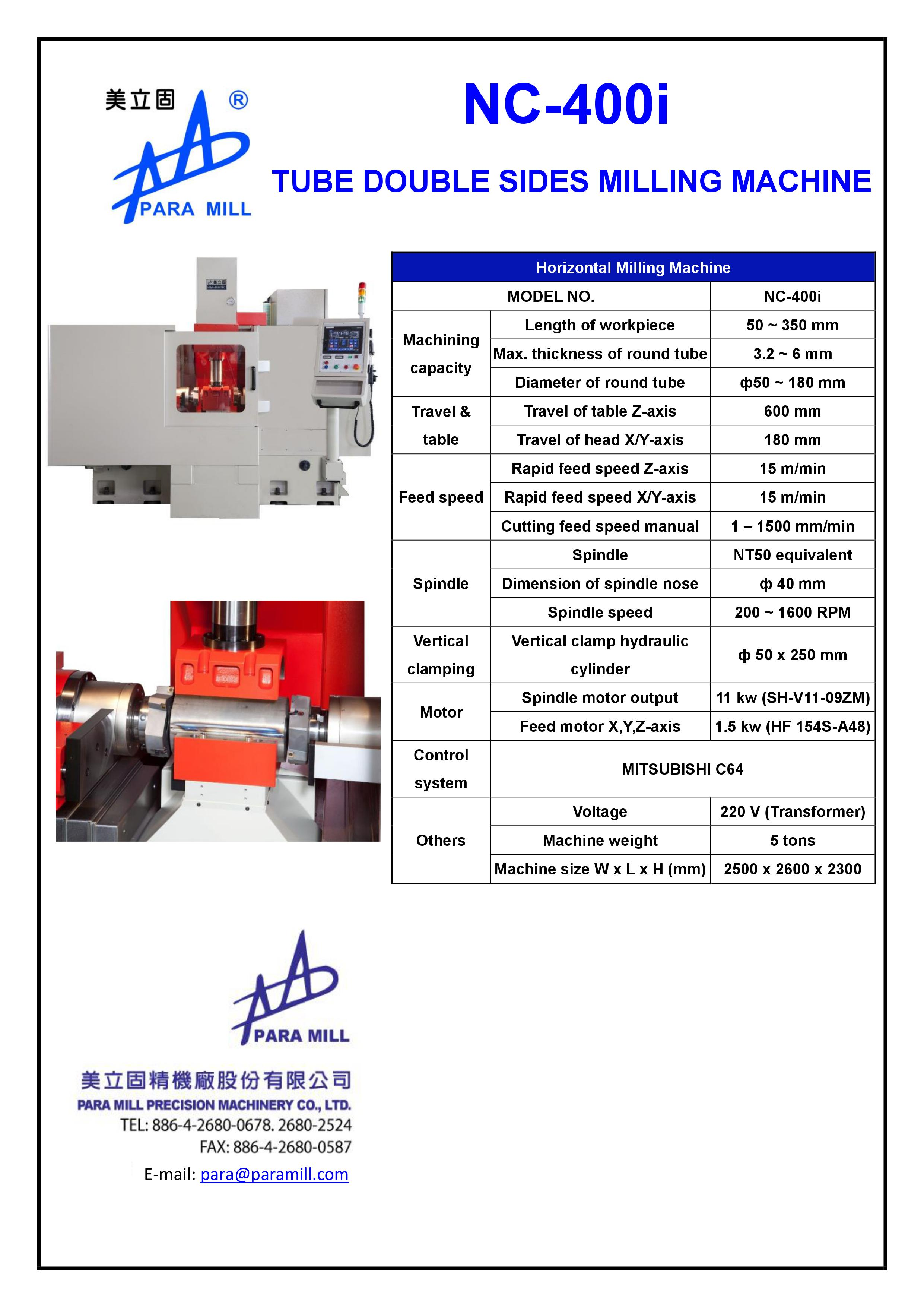 TUBE DOUBLE SIDES MILLING MACHINE