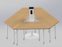 梯形学生书桌