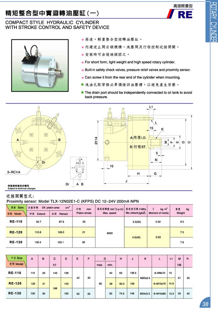精短整合型中實迴轉油壓缸 (一)