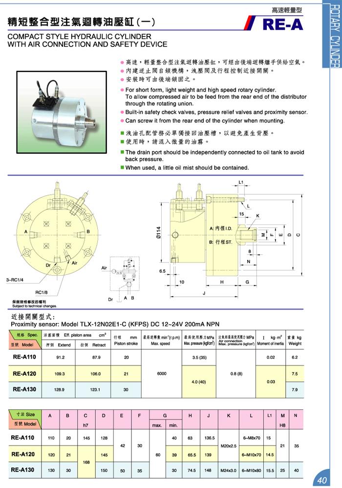 精短整合型注气回转油压缸 (一)