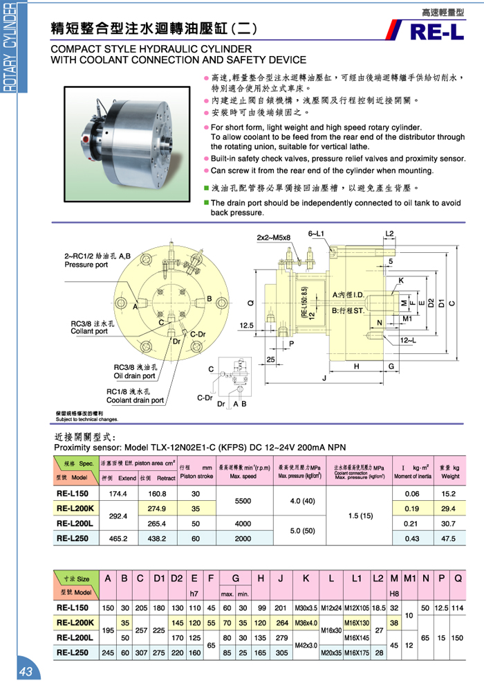 精短整合型注水迴轉油壓缸 (二)