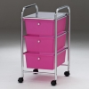3-layer electroplated silver storage cart with PP drawers