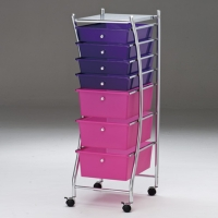 Chrome-plated silver storage cart with PP drawers (3 large & 4 small)