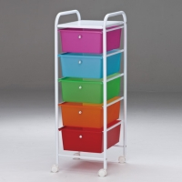5-layer powder-coated storage cart with PP drawers