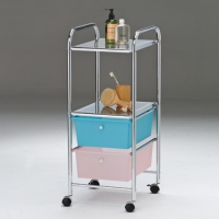 2-layer ferrous-shelving storage cart with PP drawers