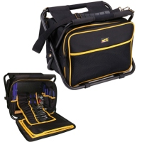 Tool Bag With Built-In Folding Stool