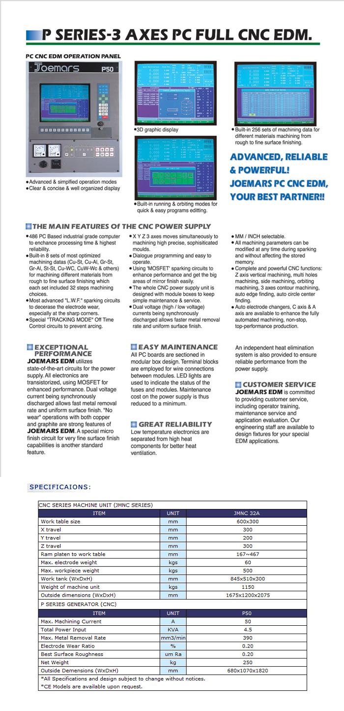 P Series-3Axes PC Full CNC EDM
